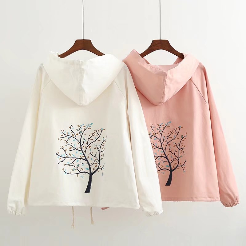 Autumn 2018 new artistic embroidery leaves loose hooded sweater student coat womens long sleeve casual cardigan