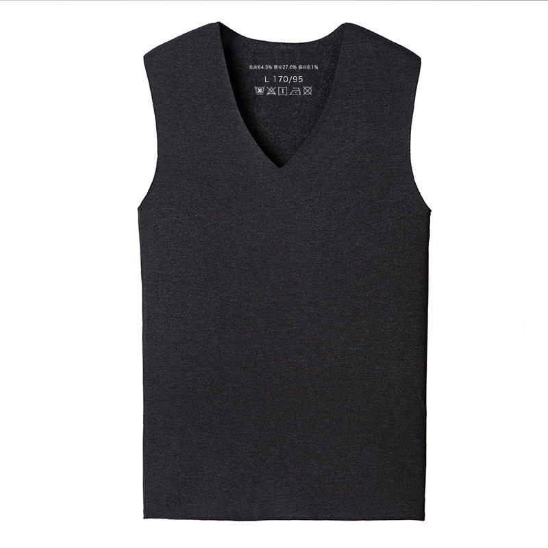 Mens traceless warm vest with plush and velvet, tight fitting and slim V-neck, sleeveless Camisole, thickened vest and base coat