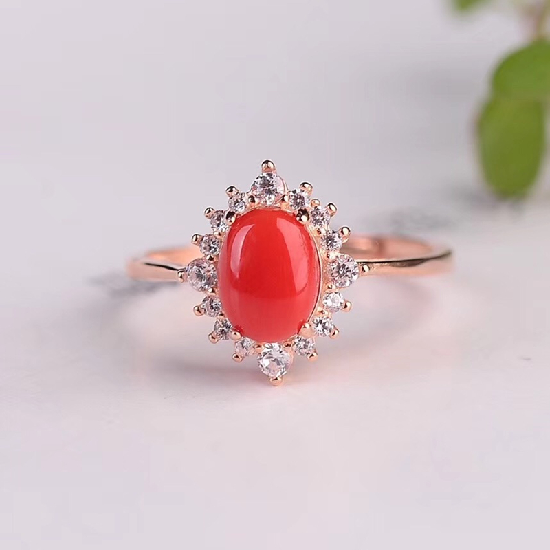 Coral new RING 925 silver inlay classic fashion versatile simple personality Ruby female jewelry