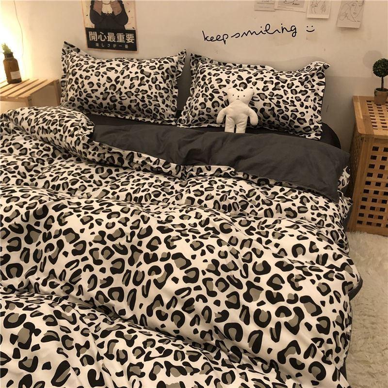 中國代購|中國批發-ibuy99|床上用品|黑白豹纹水洗棉四件套被套床上用品被套北欧简约ins学生宿舍3件套
