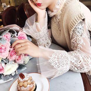 春秋季大碼長袖鏤空蕾絲打底衫女士薄款透視內搭網紗超仙立領上衣