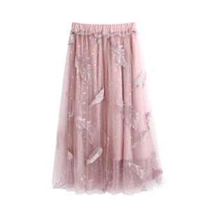 超仙百搭网纱秋冬中长款高腰半身裙