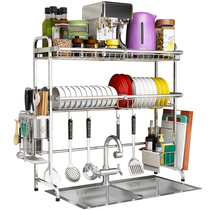 304 stainless steel sink drying bowl rack leachate rack kitchen shelf 2 floor supplies storage pool with dishes