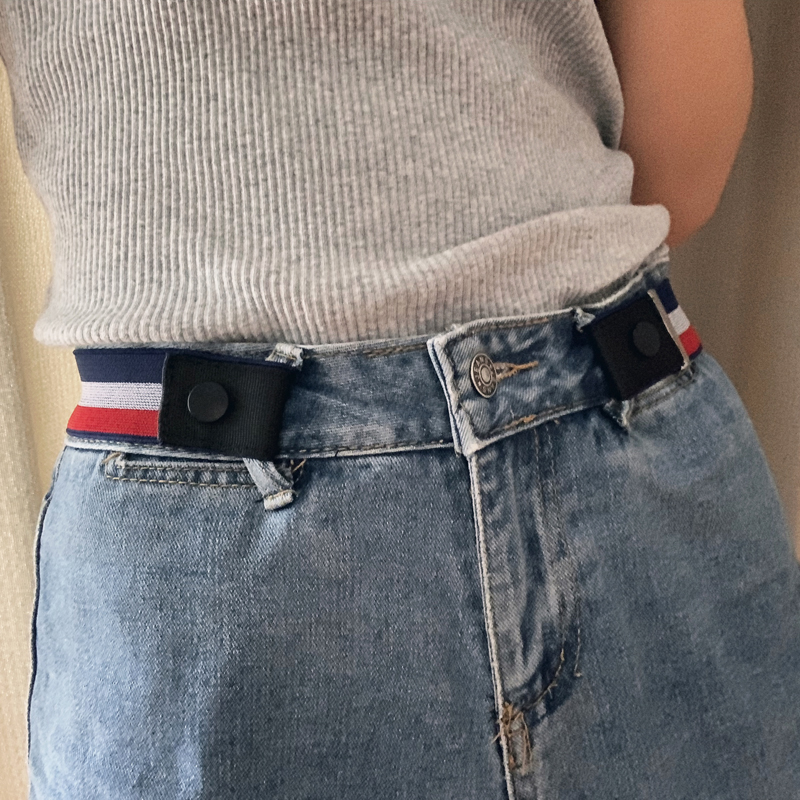 Jeans with no mark belt men and womens invisible anti allergy slacker and elastic canvas buckle belt