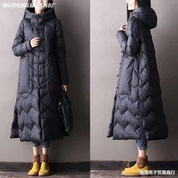 民族风A字版中长款连帽2021新款羽绒服女盘扣大码轻薄宽松外套冬
