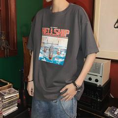 夏季新款 复古印花T恤男生短袖上衣 A156-XT108-P35