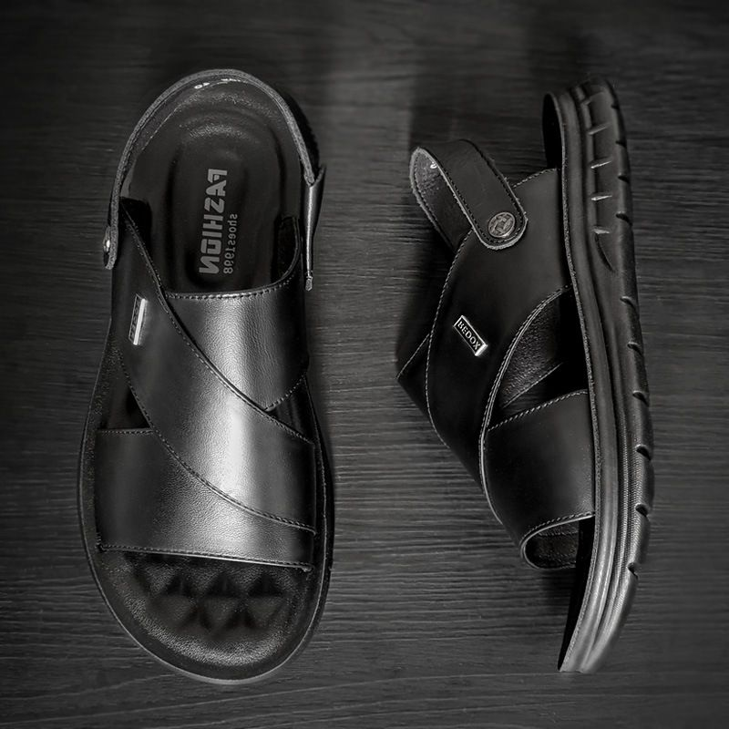 2020 brand summer Augustus sandals mens Leather Mens beach shoes antiskid cool shoes middle aged mens cool shoes