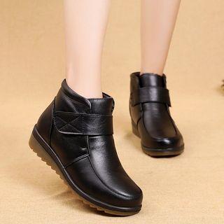 冬款新品奧古斯都女鞋棉鞋女冬牛皮中老年女鞋加厚加绒棉短靴平底