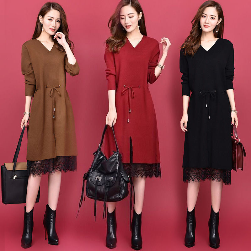 Korean spring and autumn dress womens large V-Neck long sleeve medium length loose stitching lace lace lace up slim dress