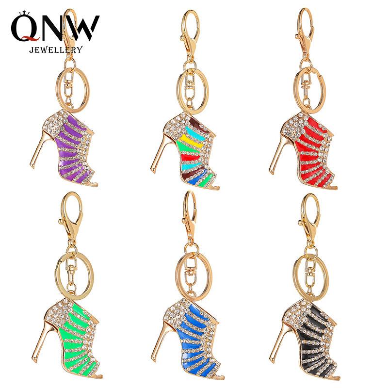 Cross border hot selling fashion accessories creative diamond high heels Keychain girl bag car pendant Pendant