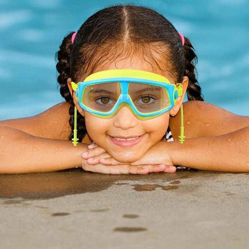 限时2件3折儿童电镀高清防雾大框浮潜游泳镜