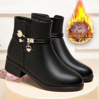 新款妈妈鞋真皮短靴女秋冬季加绒粗跟皮鞋中年女鞋老年春秋女单靴