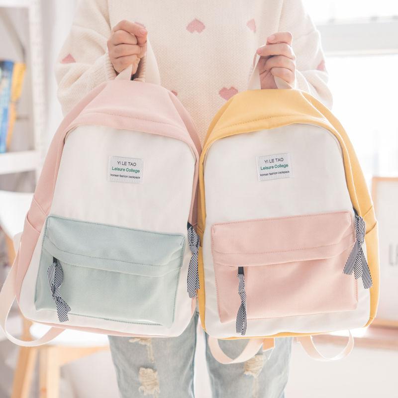森系帆布潮双肩包女韩版少女 ins校园书包初中生高中学生可爱背包