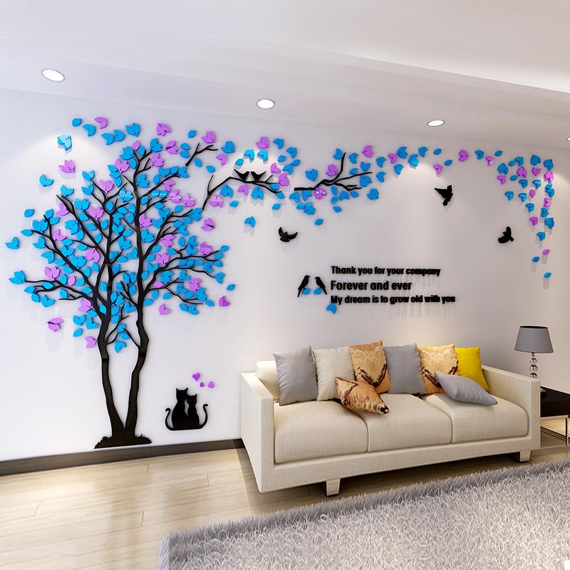 创意大树亚克力3d立体墙贴客厅电视沙发背景幼儿园墙面装饰墙贴画