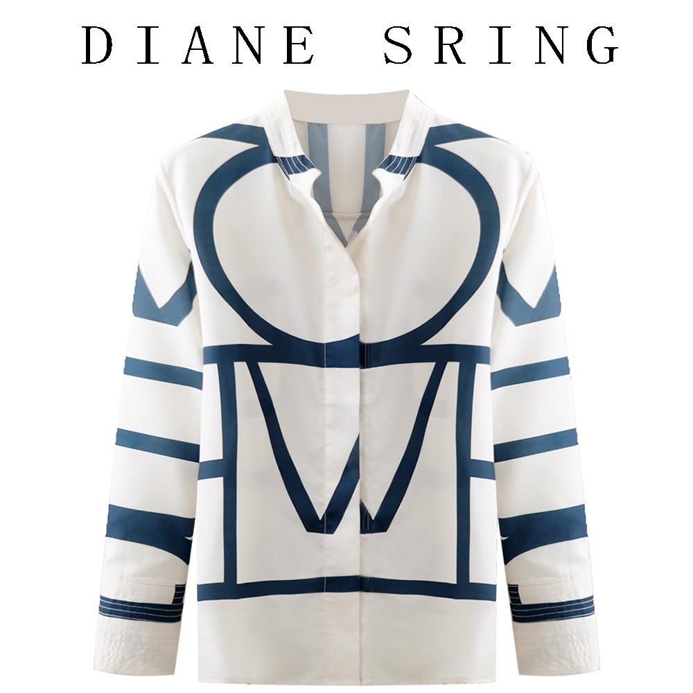 2021秋季新款设计感衬衫女士立领几何图案宽松休闲上衣妮卡伊芙丽