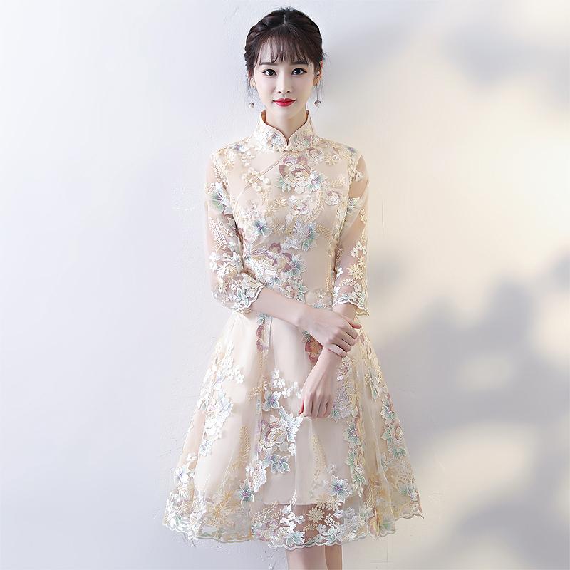 改良版旗袍秋冬季长袖中国风短款宴会晚礼服少女连衣裙年轻款中式