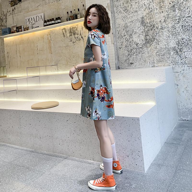 宽松旗袍新式夏季时尚改良版年轻款少女中国风微胖连衣裙学生短款