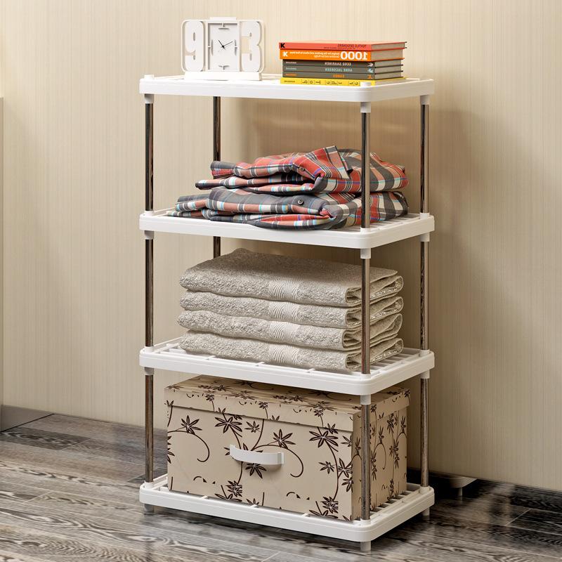 客厅卧室置物架厨房多层架塑料金属落地收纳储毛巾拖靴子物架