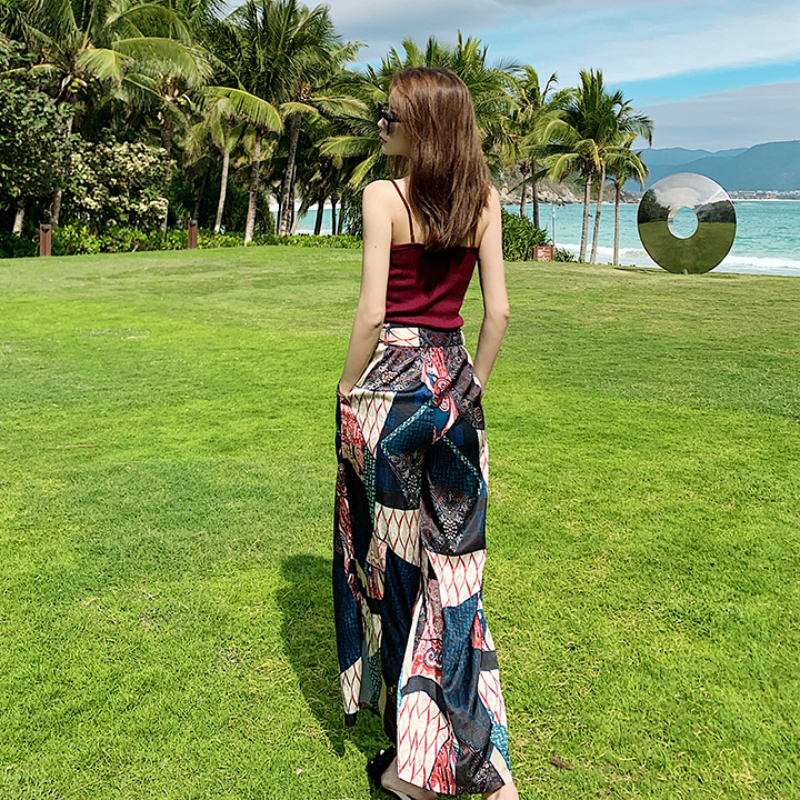 Chiffon beach wide leg pants womens spring and summer thin style 2021 new suit beach vacation two piece set high waist down feeling