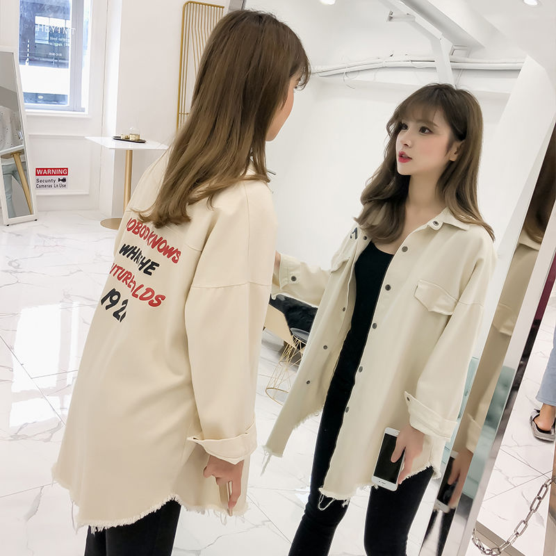 Denim shirt for women to wear the New Retro Hong Kong Style versatile thin coat in the spring and autumn of 2021