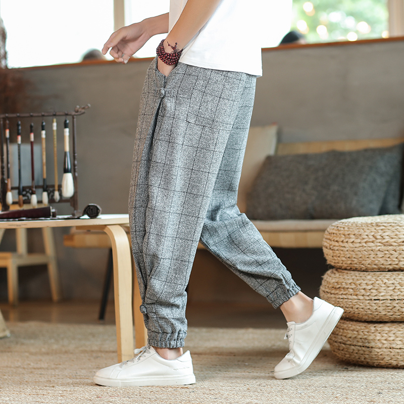 Chinese style four seasons new mens loose Plaid oversized Capris 219-2-k652-p65