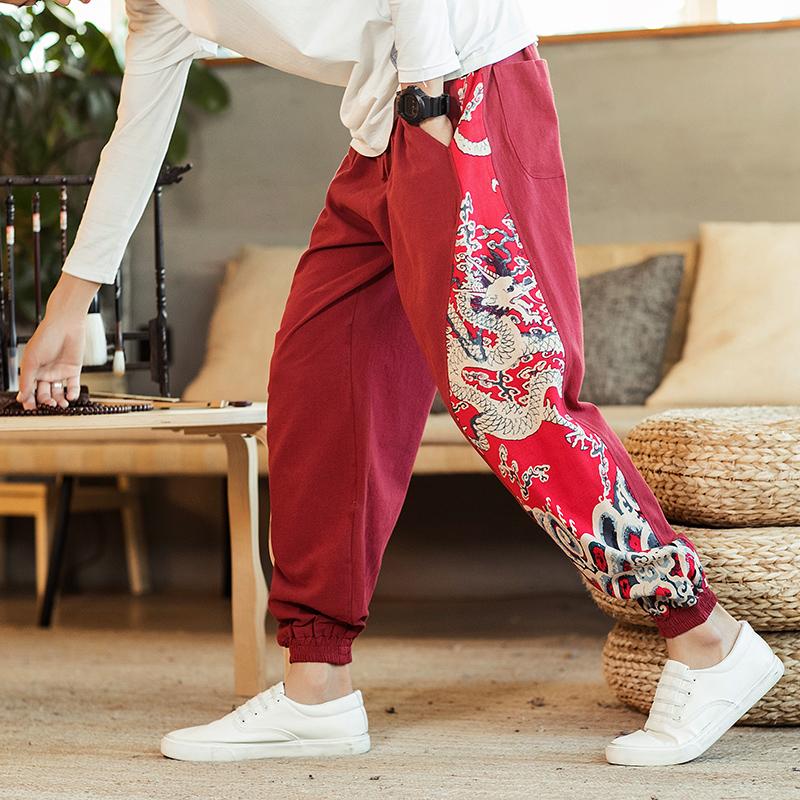 中国风春秋新款男士拼色全棉哈伦休闲长裤219-2-K904-P55
