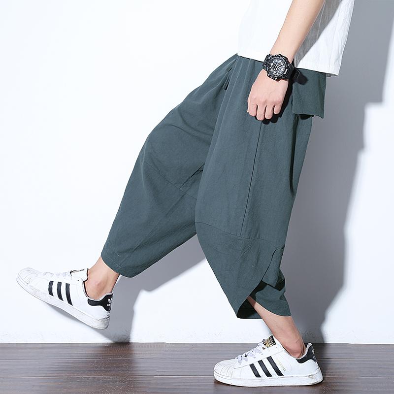 中国风男士宽松萝卜裤九分休闲裤阔腿裤6029-2-6029-P35-