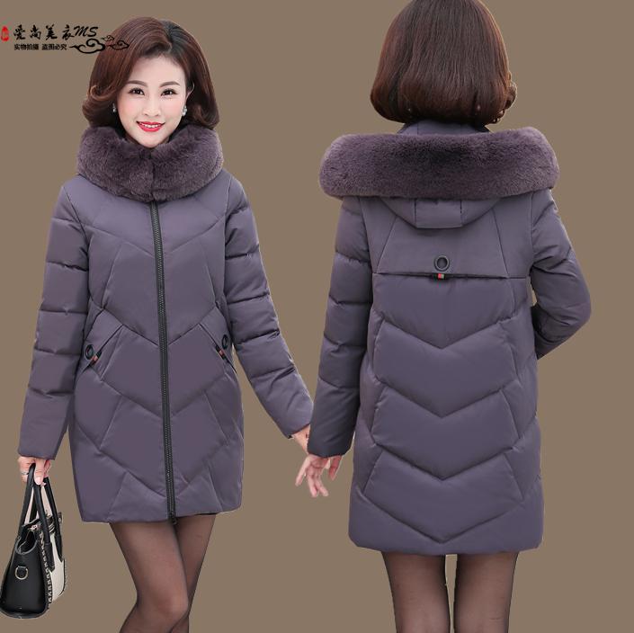 2018新款中年冬季妈妈羽绒棉服中老年女装冬装棉袄中长款棉衣外套