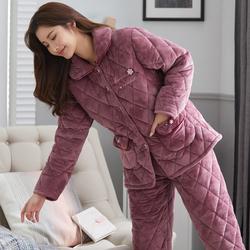 秋冬季珊瑚绒三层夹棉加绒妈妈睡衣