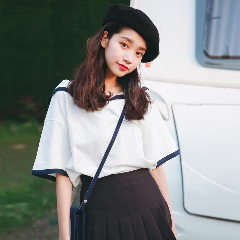 海军风短袖T恤女学生韩版2018新款夏装女装宽松上衣小清新可爱夏