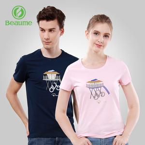 beaume宝美北客户外情侣款短袖圆领T恤轻薄透气男女运动时尚上衣