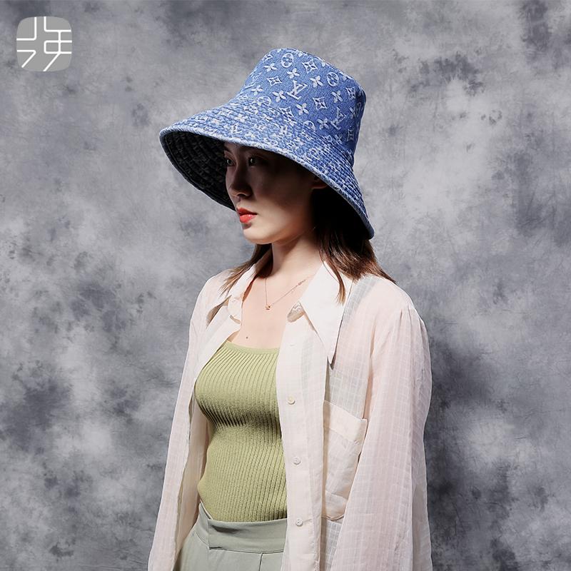 网红牛仔印花渔夫帽女夏天韩版潮遮阳帽毛边水洗显脸小遮脸帽子
