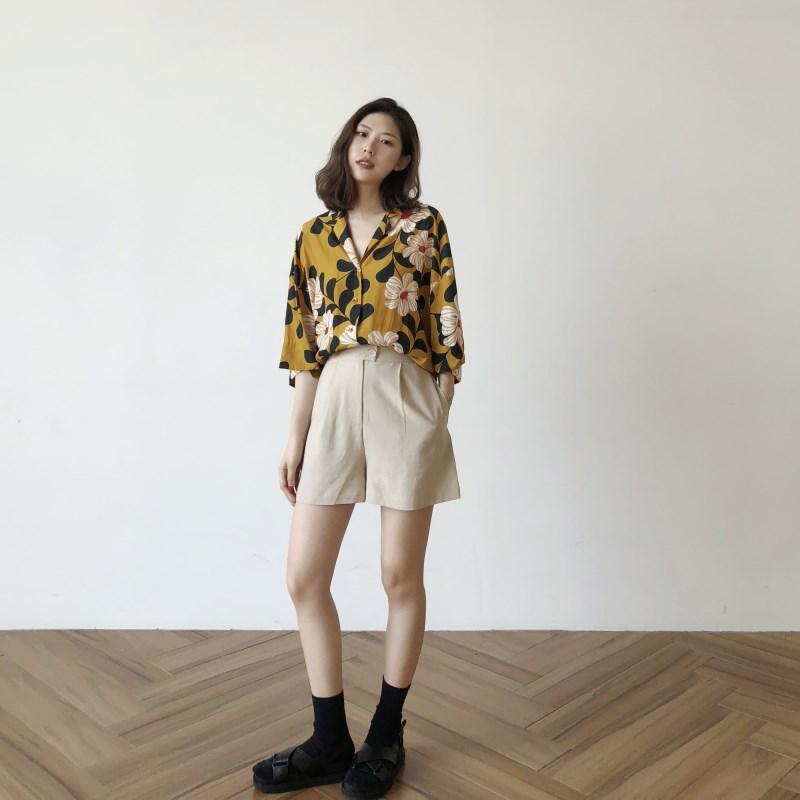 雪纺花衬衫女复古2018新款夏季ins超火的上衣宽松显瘦港风七分袖