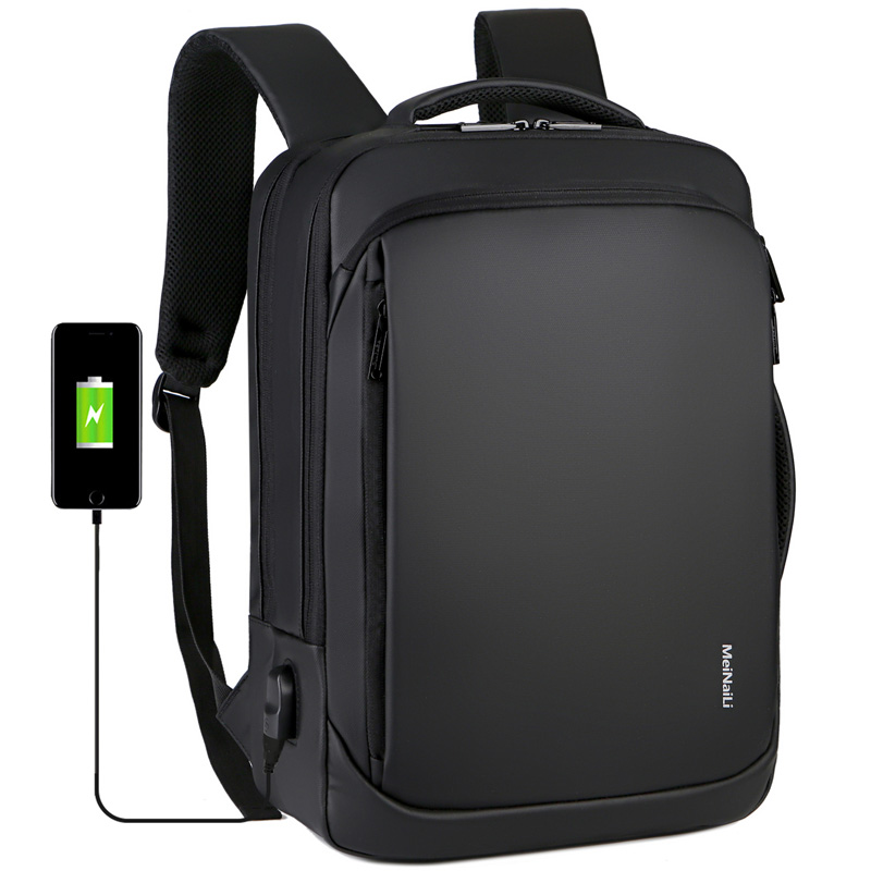 Business backpack mens and womens leisure shockproof computer backpack 15 inch hand rechargeable laptop multifunctional travel bag