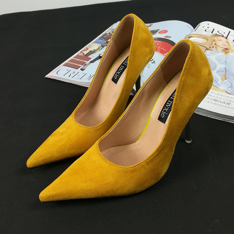High heeled shoes womens thin heeled Korean version 2019 new pointed yellow suede shallow mouth celebrity style high heeled single shoes versatile spring
