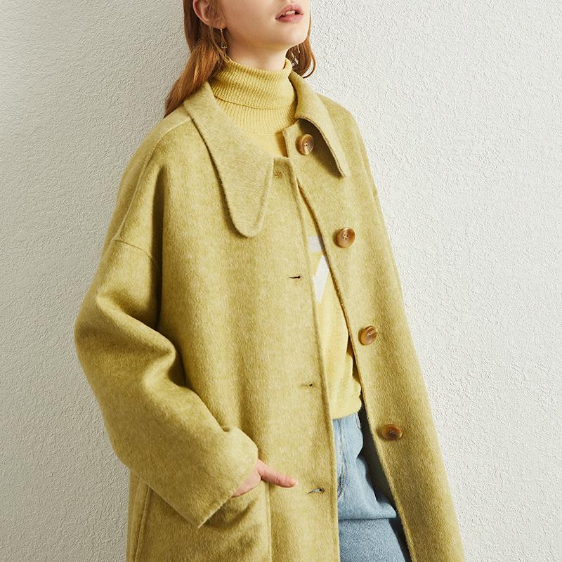 反季双面呢大衣女中长款2020年新款韩版宽松女毛呢秋冬外套零羊绒