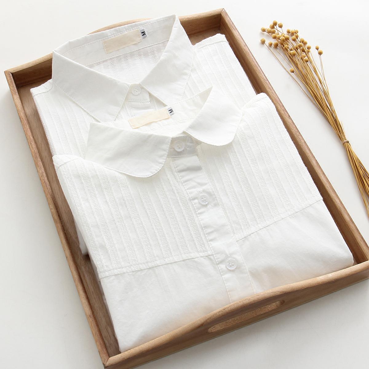 2021春装新款娃娃领纯棉短袖女衬衫