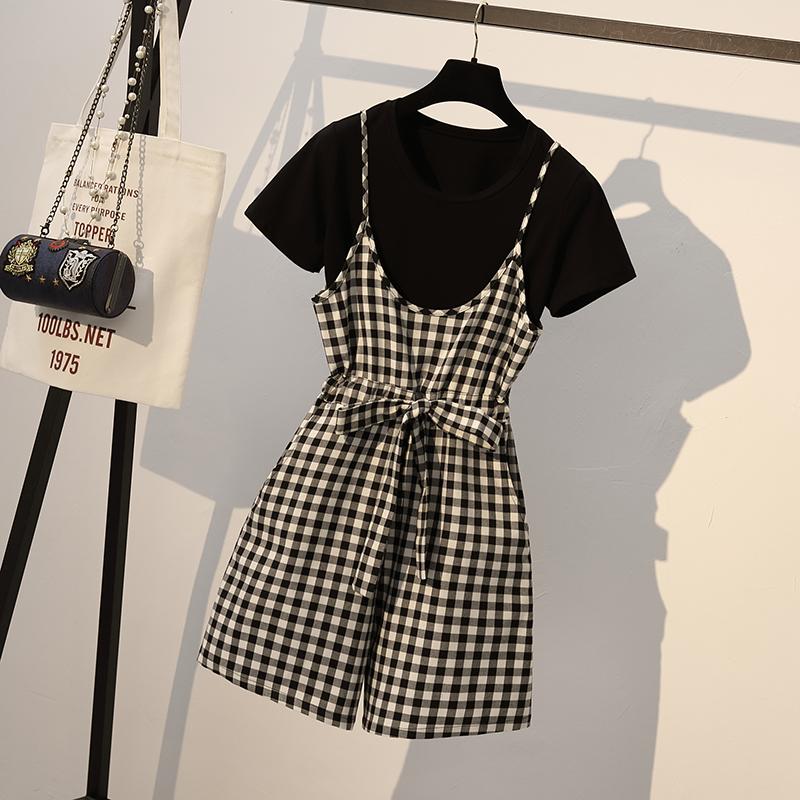 夏装新款韩版格子吊带短裤裙子女+短袖宽松T恤两件套装裙背带6648