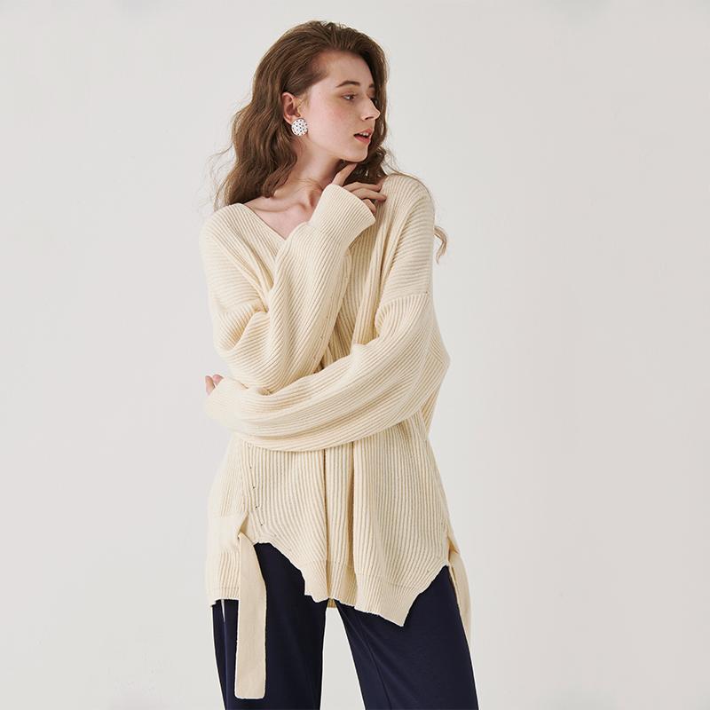Miaoke 2020 new V-neck lace up slim loose Pullover Sweater fashion versatile Korean top