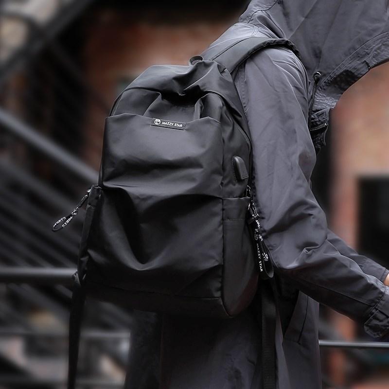 双肩包男士时尚潮流学生书包简约休闲电脑包个性旅行背包韩版新款