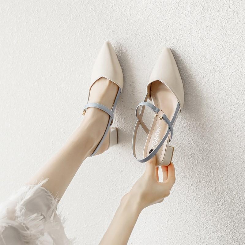 凉鞋女2020年新款夏季时尚时装仙女风中跟粗跟夏天包头高跟单鞋子