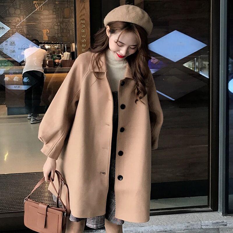 秋冬2018流行大衣新款韩版宽松中长款小个子森系毛呢外套女学生潮