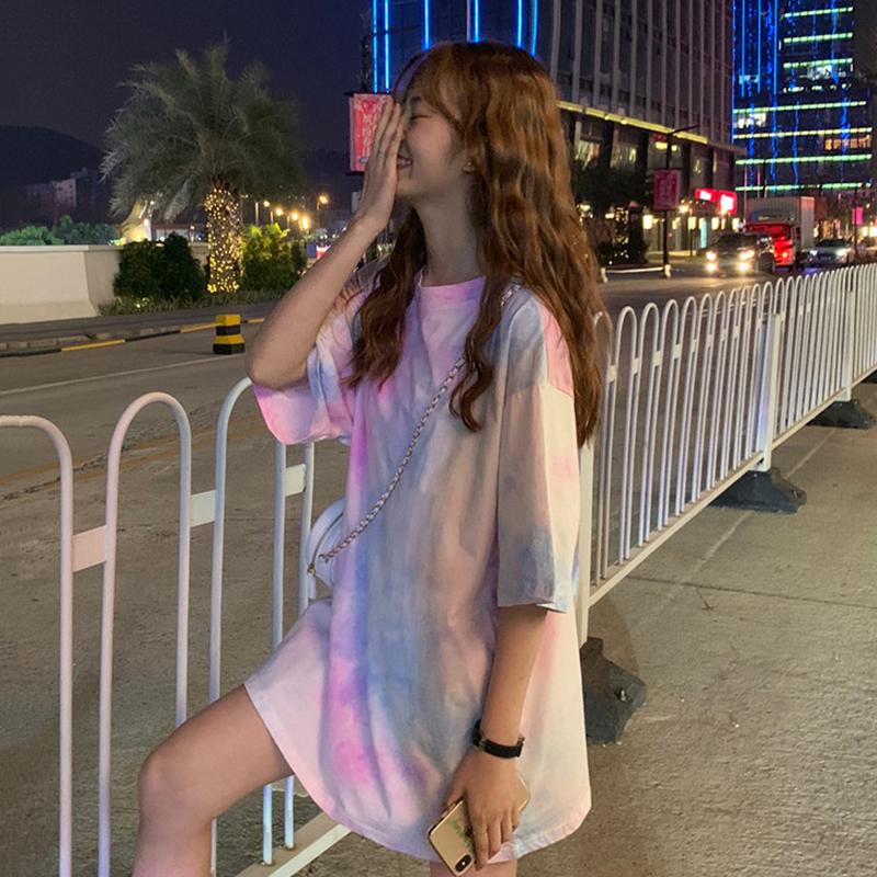 网红撞色ins扎染短袖女2019潮t恤买三送一