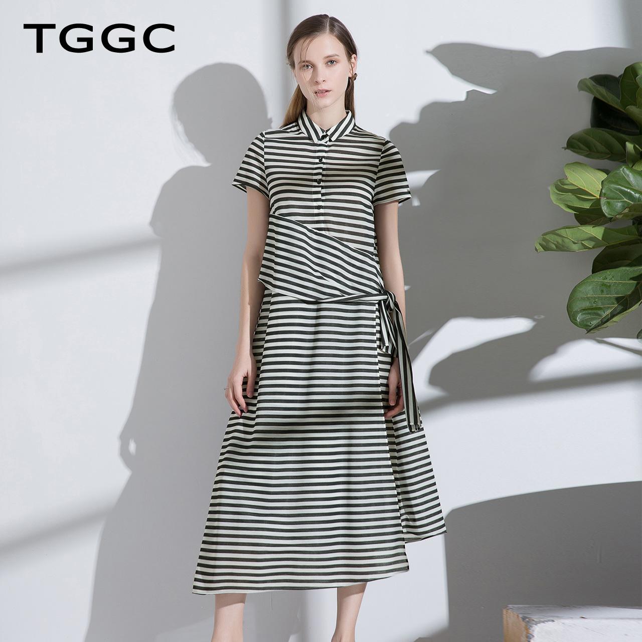 TGGC2018年夏装新款通勤长款衬衫裙宽松显瘦条纹拼接连衣裙F22575