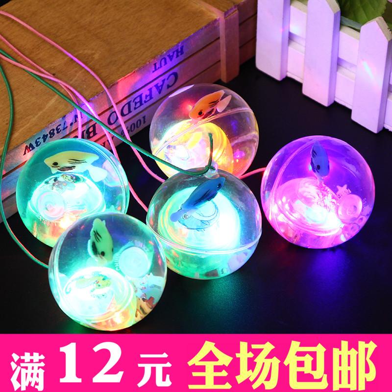 卡通跳跳球发光水晶球带绳弹跳球闪光蹦蹦球儿童玩具夜市地摊热卖