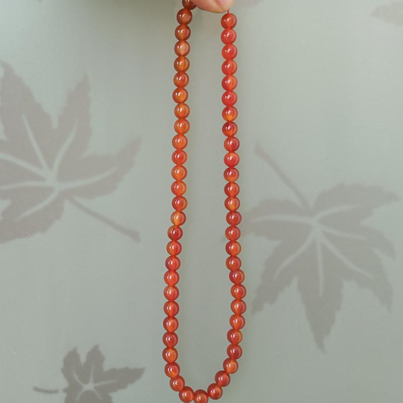 天然5A级红玛瑙项链串珠手工饰品翡翠色透亮佛珠圆珠子送妈妈送女