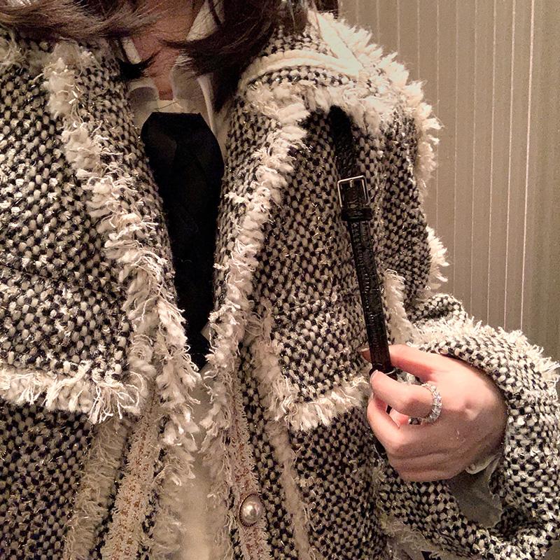 GUIJIANG复古气质加厚小香风小外套女2018新款秋冬小个子宽松上衣