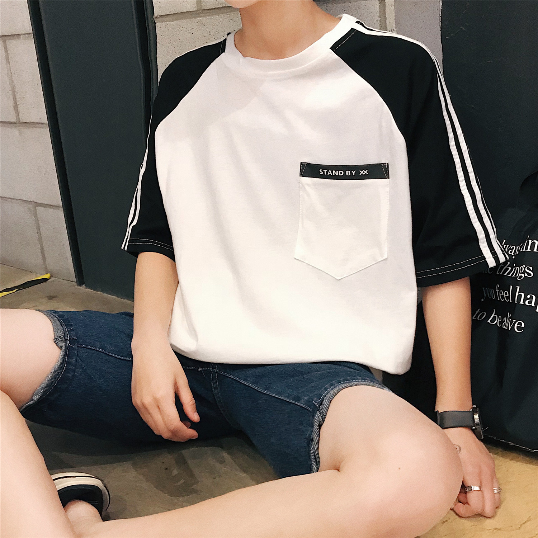 新款短袖男士T恤圆领韩版男装 港风潮流夏装男T恤T09/P35现货