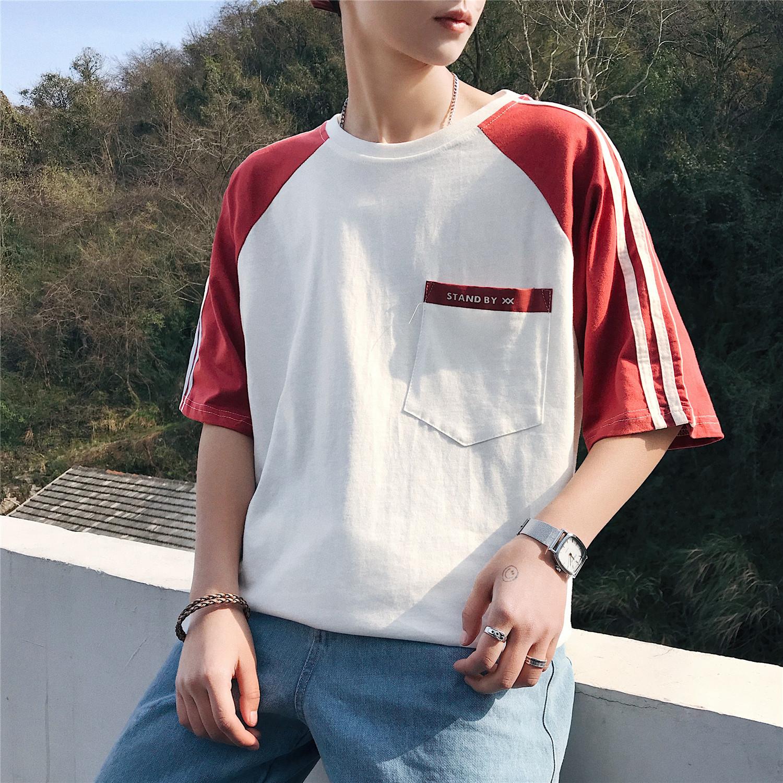新款短袖男士T恤圆领韩版男装港风潮流夏装男T恤 T09/P35现货