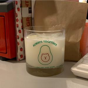 韩国ins同款可爱网红小熊牛油果玻璃水杯牛奶杯果汁杯咖啡杯子